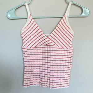 BEBE Vintage Striped V neck crop top small